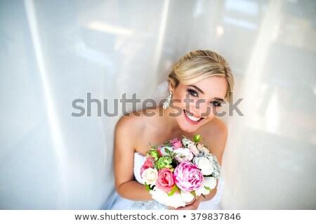 mooie · bruid · vrouw · bruiloft · portret · krulhaar - stockfoto © victoria_andreas
