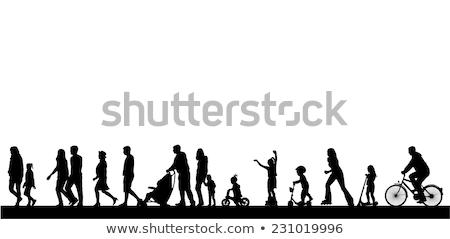 Férfi női emberek tevékenység sziluettek jó Stock fotó © comicvector703