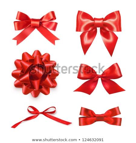 Glittering red ribbon bow for xmas Stock photo © alphaspirit