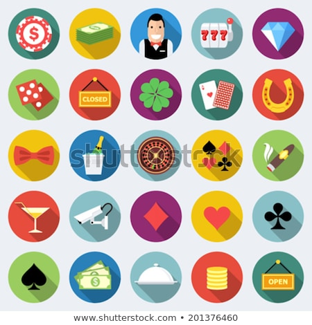 set of casino gambling chips vector flat icons stock photo © day908