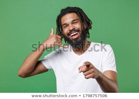 小さな · あごひげを生やした · 男 · 笑みを浮かべて · ポインティング · 指 - ストックフォト © kurhan