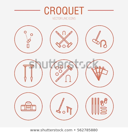 Croquet sport game vector line icons. Ball, mallets, hoops, pegs, corner flags. Garden, lawn activit Stock photo © Nadiinko