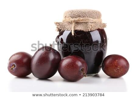 梅 ジャム プラスチック スプーン jarファイル 新鮮な ストックフォト © Digifoodstock