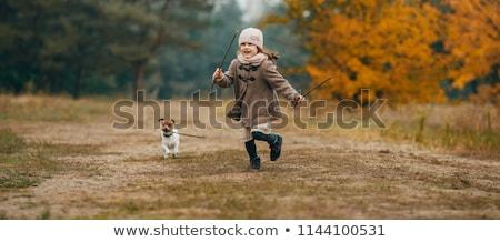 Kız sonbahar orman oturma çadır ahşap Stok fotoğraf © All32