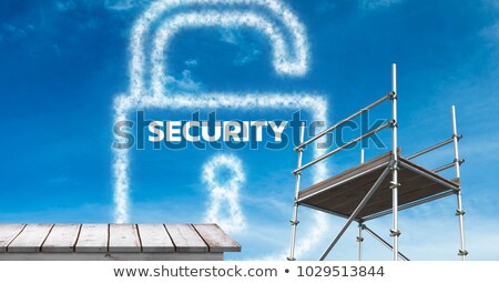 Security Text with 3D scaffolding and wooden shelf stock photo © wavebreak_media