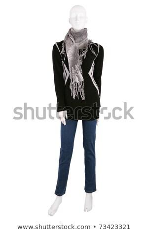 mujer · suéter · azul · lana · ocupado · manos - foto stock © gsermek