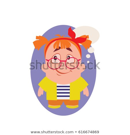 concerned smiling and avatar of geek little person cartoon character in vector stock photo © loud-mango
