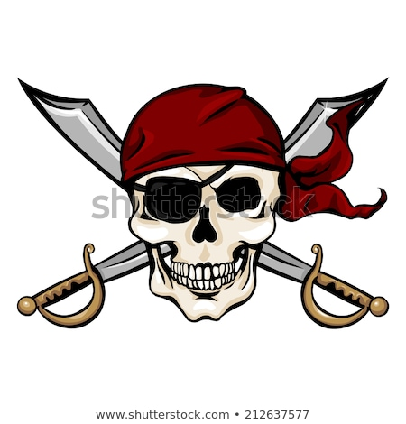 Pirate Skull in Red Headband with Cross Swords Stock photo © ayaxmr