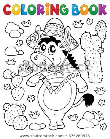 Livro para colorir mexicano burro primavera livro arte Foto stock © clairev