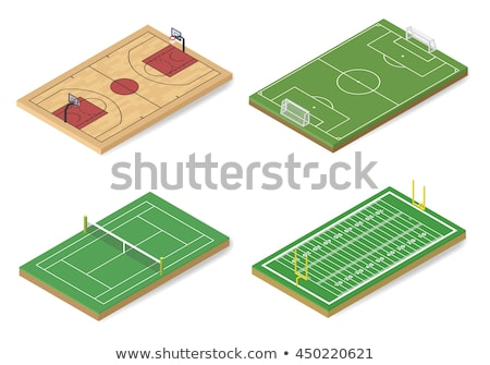gate for playing soccer in isometric vector illustration stock photo © kup1984