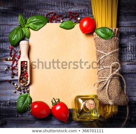 Blanco papier pasta peper specerijen recepten ingrediënten Stockfoto © julenochek