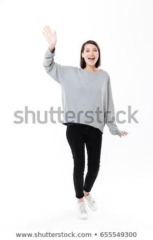 adolescente · sorridente · olhando · isolado · branco - foto stock © deandrobot