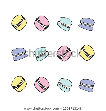 Macarons Set Vector. Top View. Colourful Sweet French Macaroons On Pink Background Illustration. Stock photo © pikepicture
