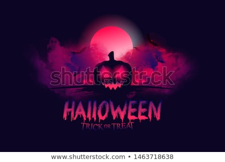 halloween sale vector poster template illustration with moon and bats on black sky background desig stock photo © articular