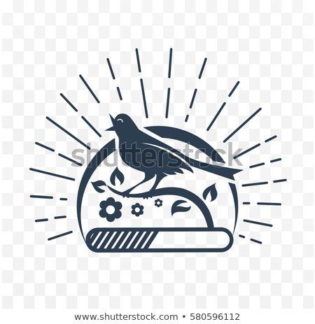 Siyah örnek şarkı söyleme kuş siluet siyah beyaz Stok fotoğraf © Olena