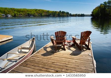 Tó dokk rajz szék ül befejezés Stock fotó © blamb