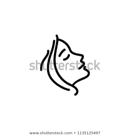 Beautiful Face Line Drawing : Beauté · fille visage vecteur icône femme
