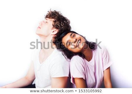 ストックフォト: 十代の少女 · 少年 · 一緒に · ポーズ