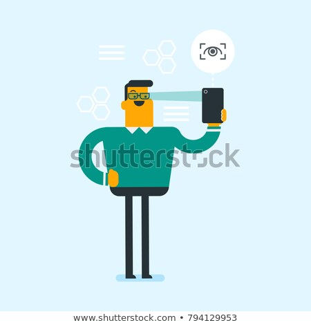 男 · アイリス · スキャナー · 携帯電話 · 笑みを浮かべて · スマート - ストックフォト © rastudio