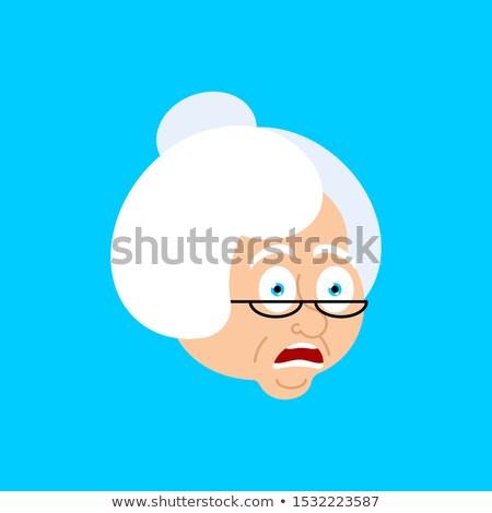 Büyükanne omg korkmuş yüz avatar büyükanne Stok fotoğraf © popaukropa