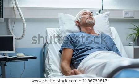 Stock fotó: Idős · férfi · alszik · kórházi · ágy · ágy · beteg