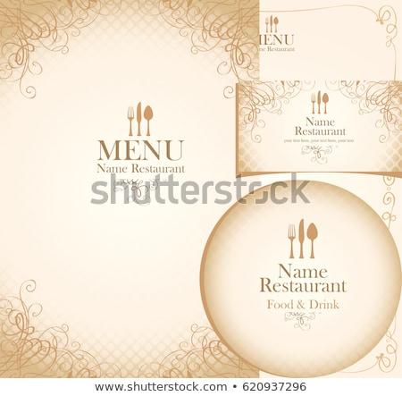 Retro sztućce menu karty sylwetki widelec Zdjęcia stock © ElaK