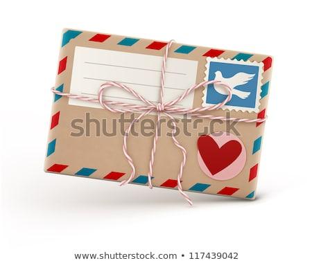 レトロな · 航空便 · 封筒 · ファンキー · スタンプ · 孤立した - ストックフォト © oblachko