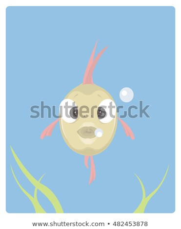 Cute fish mouth opened with bubbles vector Illustration. Stock photo © NikoDzhi