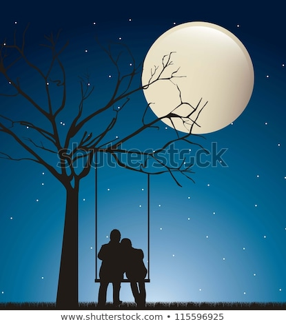 girl looking the moon on swing Stock photo © adrenalina