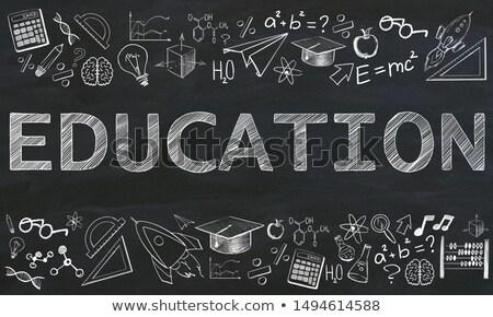 marketing solutions on chalkboard with doodle icons 3d stock photo © tashatuvango