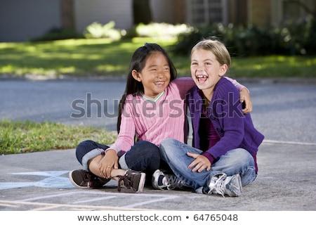 Lány karok körül lábak szomorúság adatbázis Stock fotó © IS2