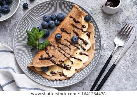 Bananów czekolady naleśniki domowej roboty świeże Zdjęcia stock © mpessaris