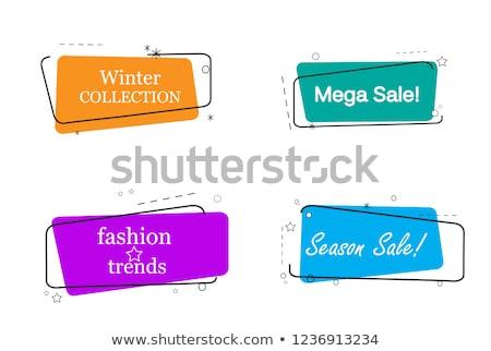 Mega Verkauf Aufkleber trendy linear Stil Stock foto © studioworkstock