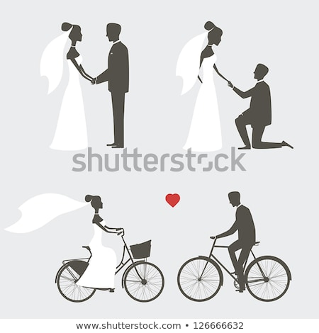 streszczenie · wzór · oblubienicy · pan · młody · ślub · sylwetka - zdjęcia stock © krisdog