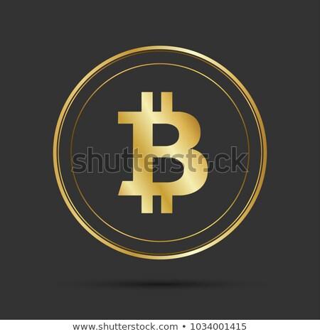 eenvoudige · bitcoin · icon · geïsoleerd · grijs · gouden - stockfoto © kurkalukas