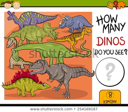 Vector Illustration of Education Counting Game with cartoon dinosaur Stock photo © Natali_Brill