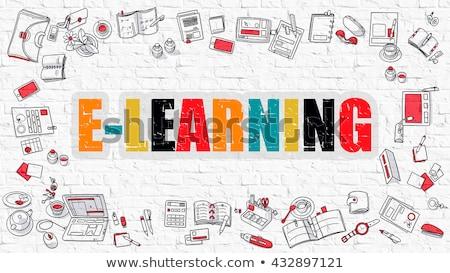 distanza · apprendimento · bianco · muro · di · mattoni · istruzione · word · cloud - foto d'archivio © tashatuvango