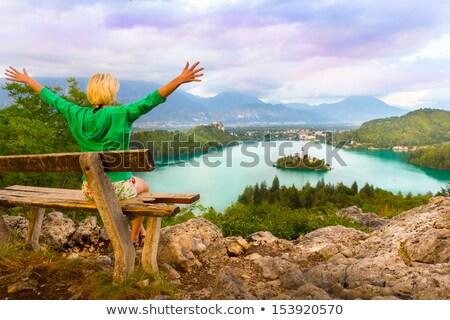Nő élvezi panorámakép kilátás tó Szlovénia Stock fotó © kasto