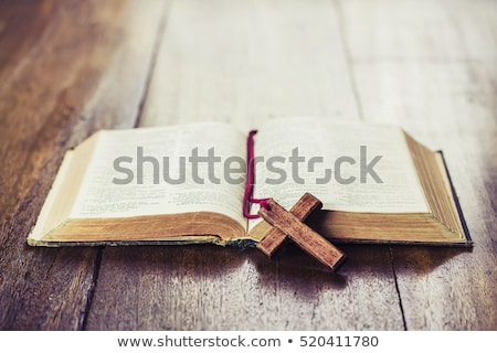 holy bible with flowers on wooden table stock photo © manaemedia