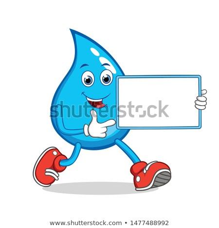 Mosolyog kék vízcsepp rajzfilm kabala karakter tart Stock fotó © hittoon