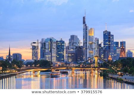 Francoforte sul Meno skyline tramonto Germania fiume cielo Foto d'archivio © lunamarina