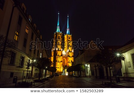 Churches in Ostrow Tumski by Night in Wroclaw Stock photo © rognar