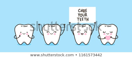 Healthy cute cartoon tooth character on white background stock photo © Natali_Brill