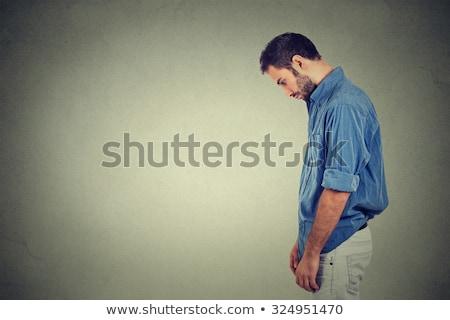triste · solitário · moço · olhando · para · baixo · não · energia - foto stock © ichiosea
