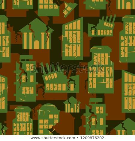 Elpusztított épületek végtelenített katonaság minta város Stock fotó © popaukropa