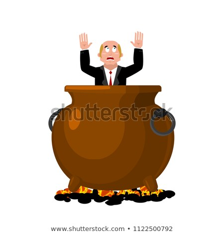 businessman in infernal cauldron sinner in frying pan boss is stock photo © popaukropa