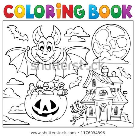 Coloring book Halloween bat theme 2 Stock photo © clairev