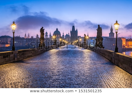 charles bridge karluv most prague in winter at sunrise czech republic stock photo © asturianu