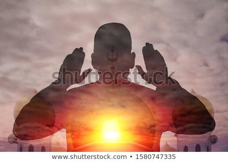 Musulmanes hombre rezando ilustración nino culto Foto stock © artisticco