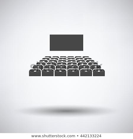 Bioscoop gehoorzaal icon dun lijn ontwerp Stockfoto © angelp
